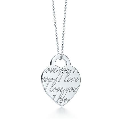 """Tiffany Notes heart tag pendant on a 16"""" chain"""